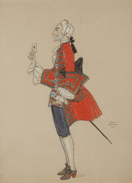 Georges BARBIER (1882 1932) Gentilhomme à l'as de pique Encre et aquarelle sur p…