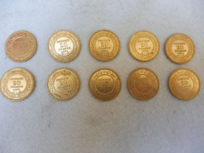 10 PIECES de 20F TUNISIE or