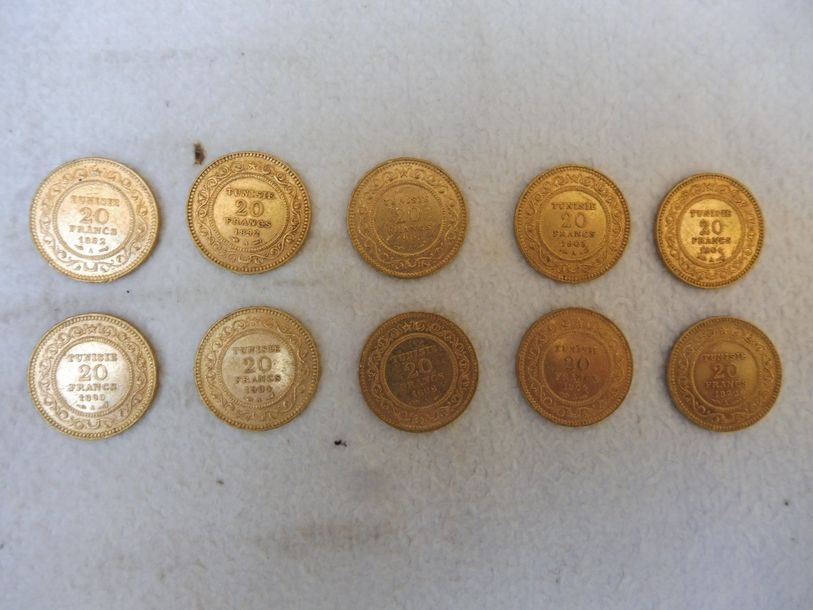 10 PIECES de 20 F TUNISIE or