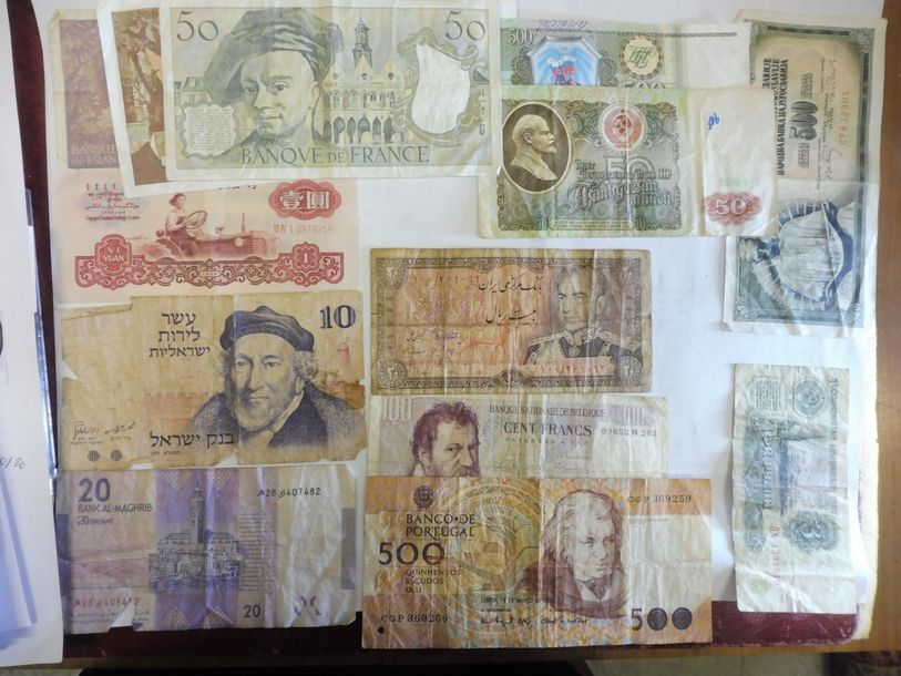 17 BILLETS de France, Russie, Chine etc.