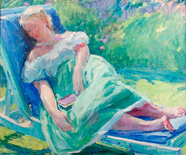 William MALHERBE (1884-1951) Caroline repose, Califor nia, 1949 Huile sur toile,…