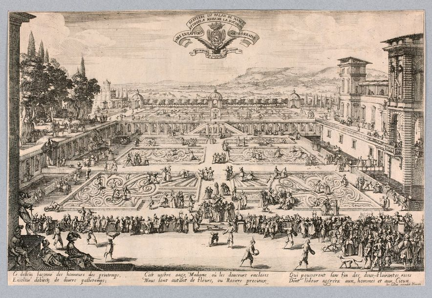Jacques CALLOT (Nancy 1592 1635)  Le Parterre de Nancy ou Jardin de Nancy  Eau f…