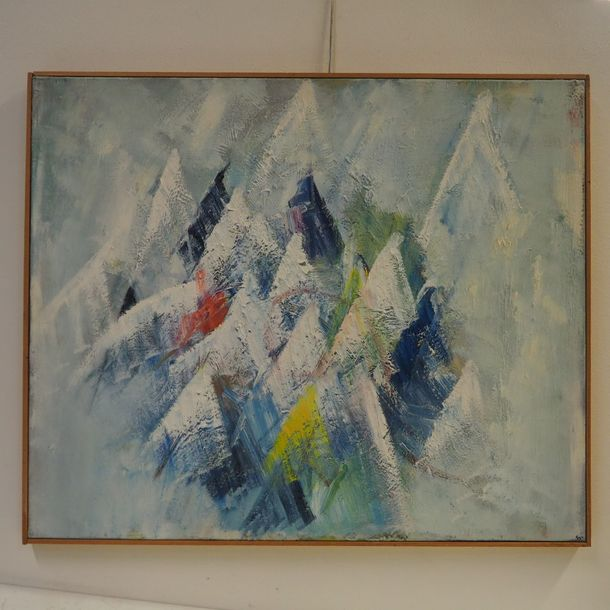 Moser Christopher Moser Christopher : Huile sur toile, composition abstraite, si…