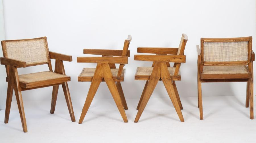 "Pierre JEANNERET (1896-1967)  Ensemble de quatre ""office cane chairs"".  En teck,…"