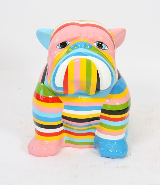 BULLDOG ASSIS Grande sculpture en résine peinte de rayures multicolores Finition…