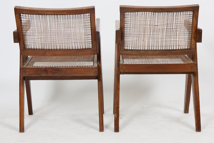 "Pierre JEANNERET (1896-1967)  Ensemble de deux ""office cane elegant chairs"".  En…"
