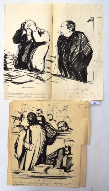 Claude BILS (1884-1968) : 2 dessins : BILS : Le massacre des innocents, la 28 ème…