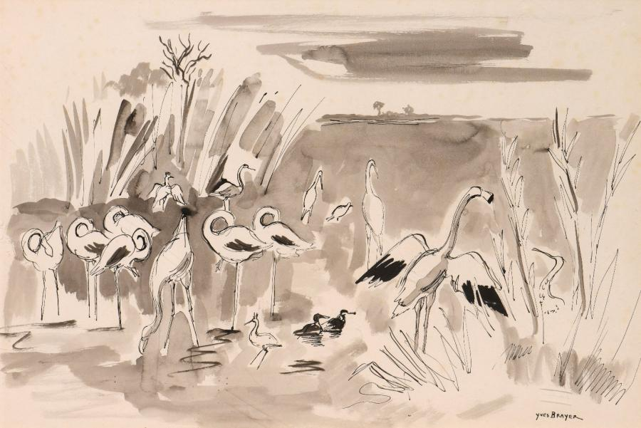 Yves BRAYER (1907-1990), Yves BRAYER (1907-1990),  Les flamants roses en Camargue,…
