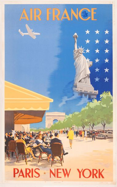 GUERRA Vincent Air France Paris New York. 1951. Affiche lithographique. Réf. 624…