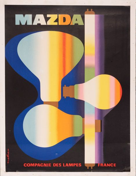 NATHAN GARAMOND Jacques Mazda. Compagnie des Lampes. France. 1956. Affiche litho…