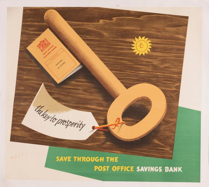 REISS Manfred The key to prosperity. Save through the post office savings bank. …