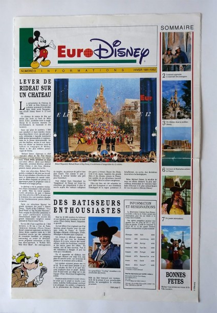 vente aux ench res disneyland paris rare brochure pr ouverture du parc. Black Bedroom Furniture Sets. Home Design Ideas