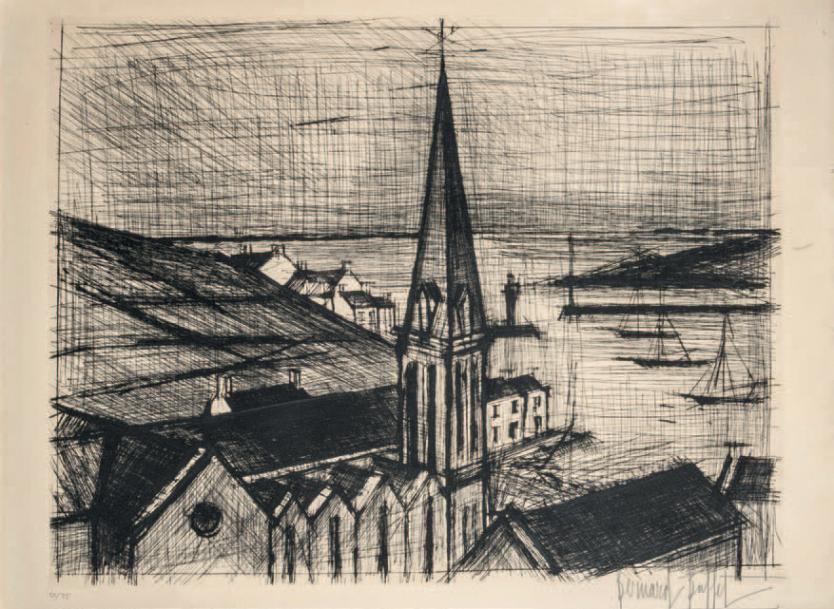 Bernard BUFFET (1928-1999) Le clocher de Sauzon, 1962 Pointe sèche sur vélin d'Arches…