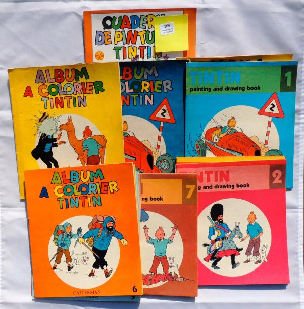 16 Albums à colorier Tintin. «Tintin Painting and drawing Book» n°1 à 12, format…