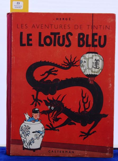 «Le Lotus Bleu». Edition originale couleurs. Casterman 1946, 4e plat B1, dos rouge.…