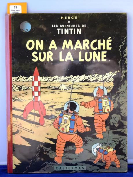 «On a marché sur la lune». Edition originale belge. Casterman 1954, 4e plat B11,…