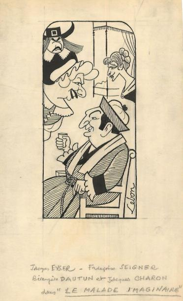 Jacques CHARON Ensemble comportant 4 caricatures originales à l'encre de Chine sur…