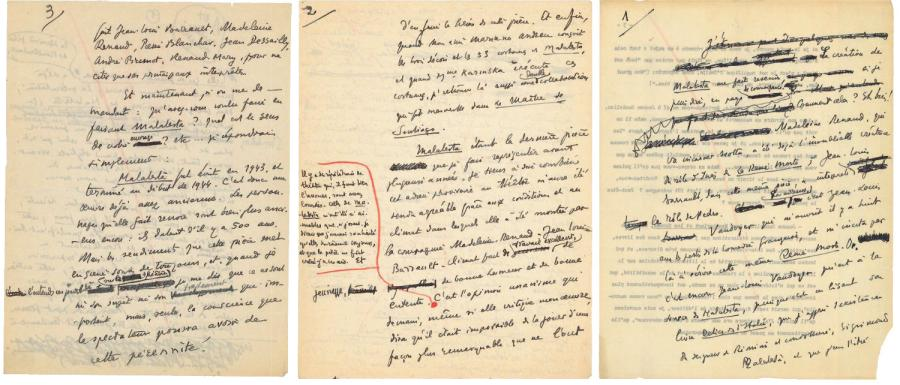 Henri de MONTHERLANT Malatesta Manuscrit autographe, 3 pages in-4 (sans date, mais…