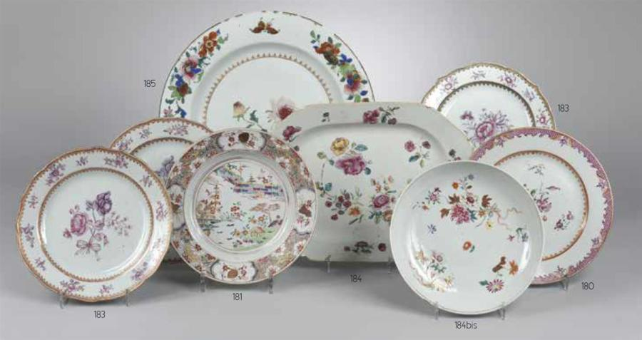 Chine grand plat rond en porcelaine d cor polychrome de for Vente de fleurs sur internet