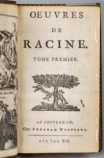 Jean RACINE. OEuvres. Amsterdam, Wolfgang, 1690-1692. 2 volumes in-12, maroquin…