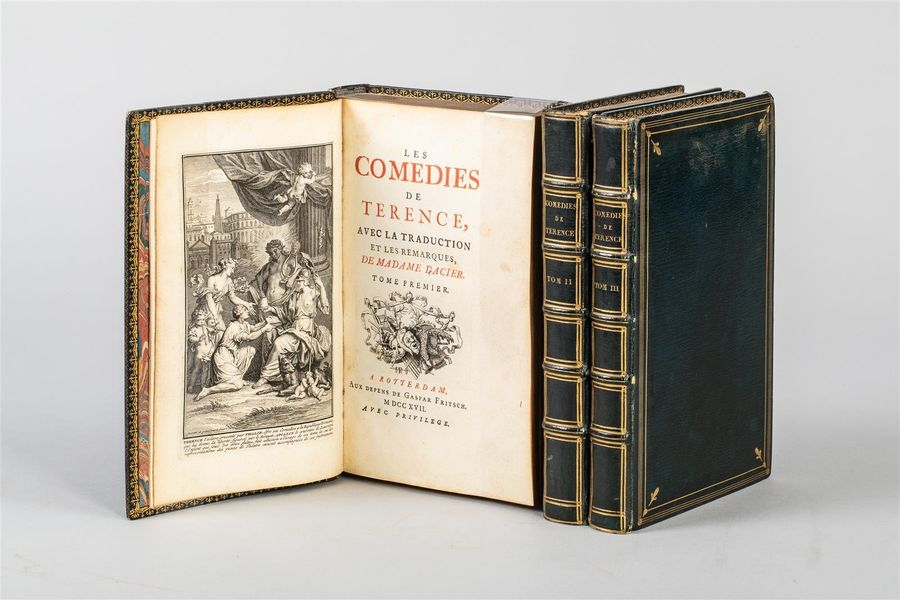 TERENCE. Les Comédies. Rotterdam, Fritsch, 1717. 3 volumes in-8, maroquin à long…