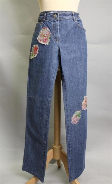 Christian DIOR Boutique Creation John Galliano PANTALON en denim avec 4 applications…