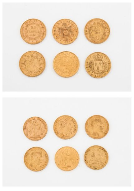 FRANCE  Lot de 6 pièces de 20 francs or :   Louis XVIII, 1814 Paris.   Napoléon …