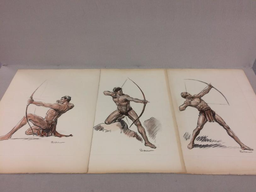 Paul Ordner (1900-1969)  - L'archer.  Ensemble de trois lithographies polychromes…
