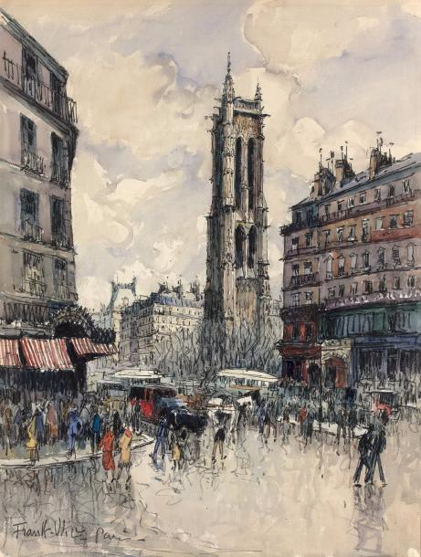 FRANK-WILL (1900-1951) La tour Saint-Jacques à Paris. Aquarelle sur papier. Signée…