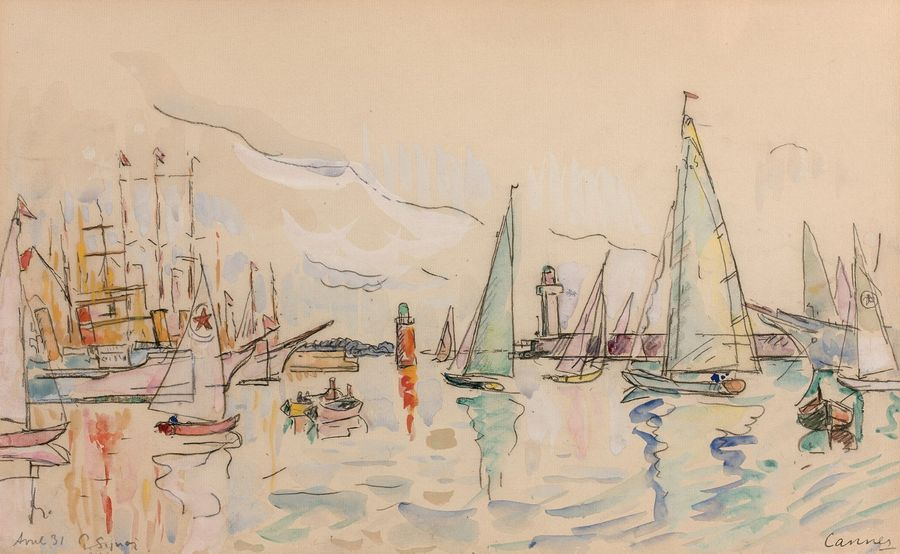 Paul SIGNAC (1863-1935) Cannes, avril 1931. Mine de plomb et aquarelle sur papier.…