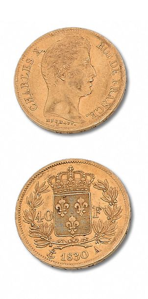 CHARLES X (1824-1830) 40 francs or. 1830. Paris. 20 francs. 1825. Paris. G. 1105…