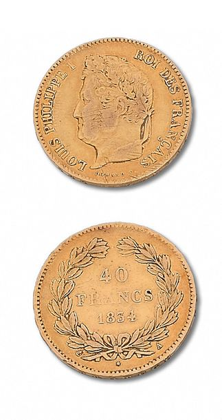 LOUIS PHILIPPE (1830-1848) 40 francs or. 1834. Paris. 20 francs: 2 exemplaires.…