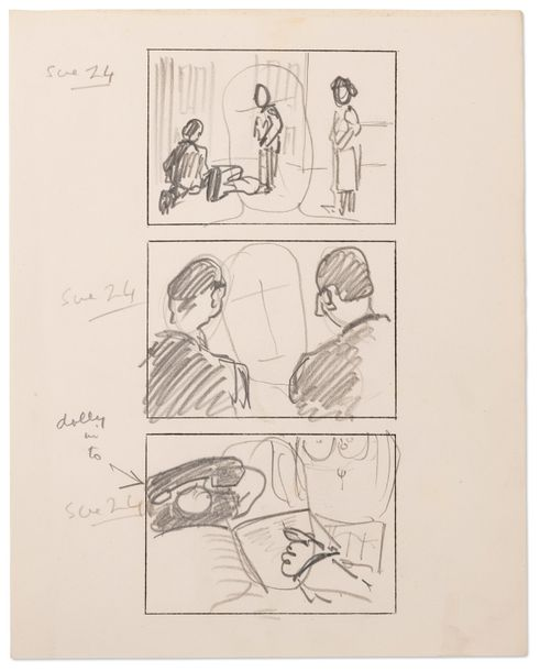 HITCHCOCK ALFRED (1899-1980) Stage Fright (Le Grand Alibi) storyboard. Circa 1949.…