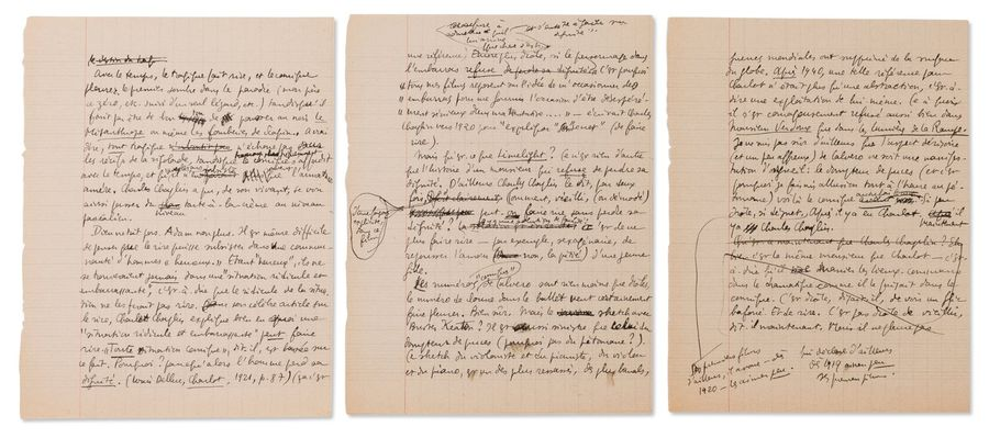 [QUENEAU RAYMOND] (1903-1976) Limelight. Manuscrit autographe. 4 pages in-4. Très…