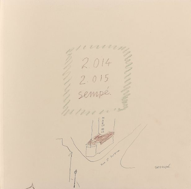 Jean Jacques SEMPÉ (1932) Album du Marco Polo, 2014-2015. 72 dessins sur 39 pages.…