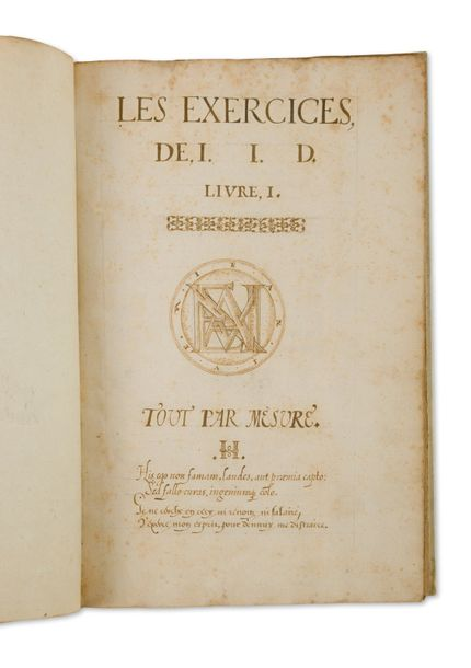 [MANUSCRIT]. Les Exercices de L.I.D. Tout par mesure (...). S.l.n.d. Un vol. in-folio,…
