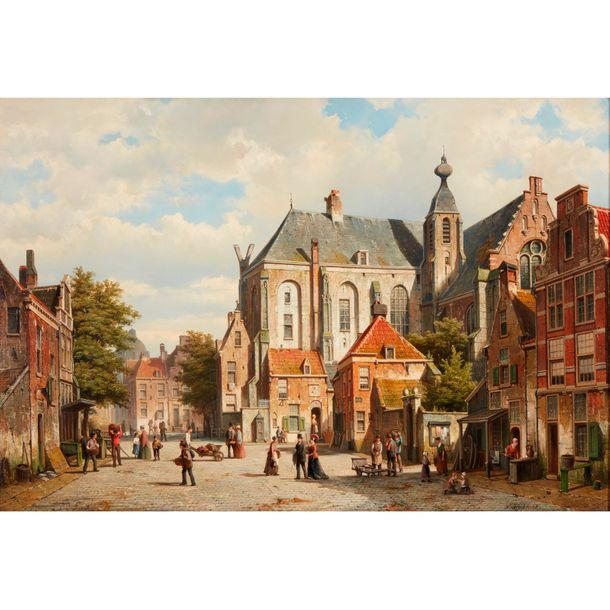 Willem Koekkoek (Dutch, 1839–1895) A Busy Street in a Dutch Town, Signed 'W. Koe…