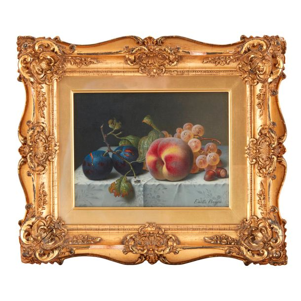 Emilie Preyer (German, 1849–1930) Still Life with Peach, Plums, Grapes and Hazel…