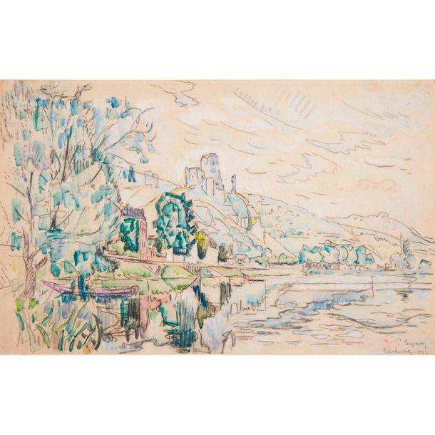 Paul Signac (French, 1863–1935) Petit Andély, Château Gaillard, Signed, located …