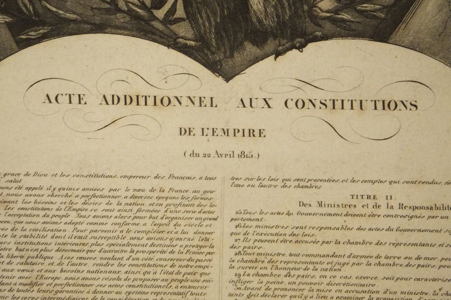 NAPOLEON - Acte Additionnel Aux Constitutions De L'Empire (du 22 avril 1815), éditée…