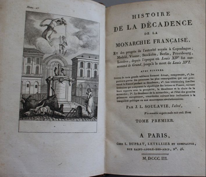 SOULAVIE : Décadence de la Monarchie Française. Paris, 1803 ; 2 vol., demi-rel.…