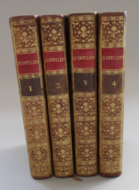 QUINTILIEN : De l'Institution de l'Orateur. Paris, 1803 ; 4 vol. in-12, veau or…
