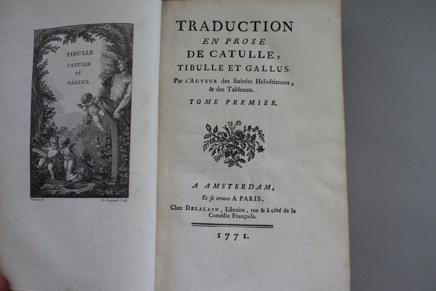 CATULLE : Poésies. Paris, Delalain, 1778 ; 2 vol. in-12, veau marbré de l'epoque.…