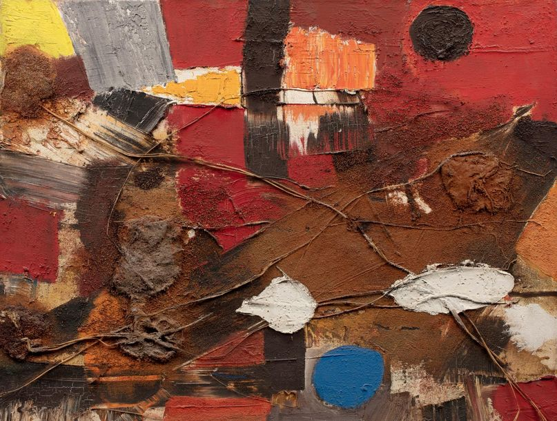 Michel CADORET (1912 1985) Composition abstraite Huile, résine et collages de co…