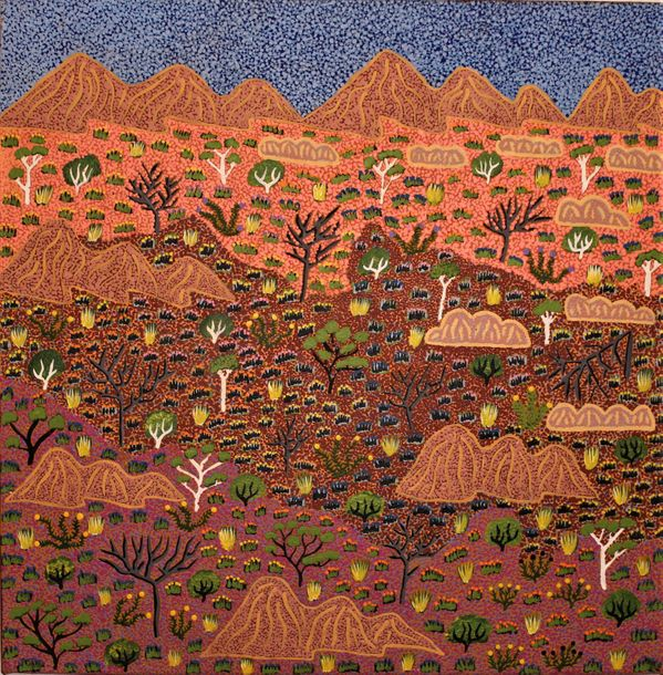 Heather Corbett Pitjara (1986 ) My Fathers Country Acrylique sur toile 51 x 51 …