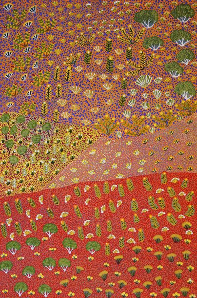 Kindy Ross Kemarre (1983 ) View Of Country Acrylique sur toile 91 x 61 cm Group…
