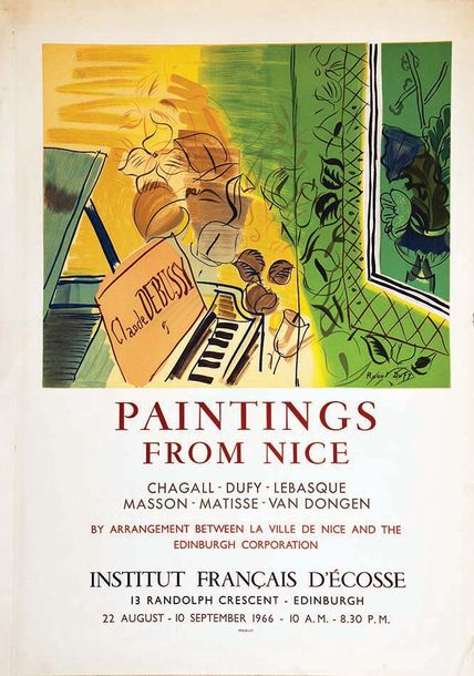 DUFY RAOUL Painting from Nice Institut Français D'Ecosse Raoul Dufy 1966 Mourlot…