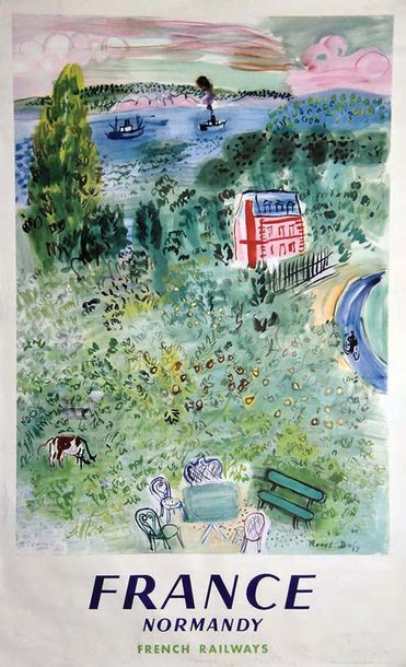 DUFY RAOUL France Normandy French Railways. 1952 De Plas Paris   Affiche entoilé…