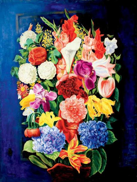 Moise Kisling 1891-1953 (Polish) Bouquet de fleurs, 1931 oil on canvas 113 x 89 cm…