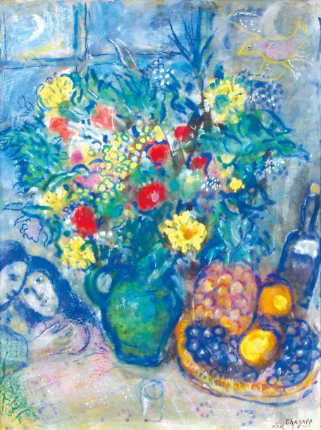 Marc Chagall 1887-1985 (French, Russian) Vase de fleurs a l'ananas, 1962 watercolor,…